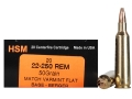 HSM Varmint Gold Ammunition 22-250 Remington 50 Grain Berger Varmint Hollow Point Flat Base Box of 20