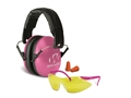 Walker's Youth & Women Earmuffs (NRR 27dB) and Shooting Glasses Kit Pink