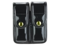 Bianchi 7902 AccuMold Elite Double Magazine Pouch Single Stack 9mm, 45 ACP Brass Snap Trilaminate High-Gloss Black