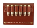 Hunter Cartridge Belt Slide Pistol Ammunition Carrier 38 Caliber 6-Round Leather Brown