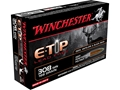 Winchester Supreme Ammunition 308 Winchester 168 Grain E-Tip Lead Free