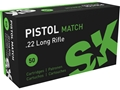 SK Pistol Match Ammunition 22 Long Rifle 40 Grain Lead Round Nose Box of 500 (10 Boxes of 50)