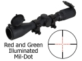 Product detail of Leapers UTG Golden Image Rifle Scope 3-9x 40mm Red and Green Illuminated Mil-Dot Reticle Rubber Armored Matte
