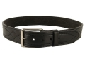 "DeSantis Fancy Stitch Holster Belt 1-3/4"" Nickel Plated Brass Buckle Suede Lined Leather Black 30"""