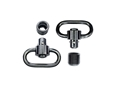 "GrovTec Heavy Duty Push Button Quick Detach Sling Swivel Set 1-1/4"" Steel Black"