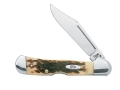 "Case Mini CopperLock Folding Pocket Knife 2-11/16"" Clip Point Stainless Steel Blade Bone Handle Amber"