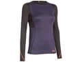 Under Armour Women's ColdGear Infrared Wool Crew Base Layer Shirt Polyester and Wool Blend Twilight Purple and Steeple Gray
