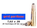 Product detail of Prvi Partizan Ammunition 7.62x39mm 123 Grain Round Nose Soft Point Box of 20