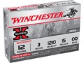 "Winchester Super-X Magnum Ammunition 12 Gauge 3"" Buffered 00 Buckshot 15 Pellets Box of 5"