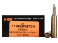 HSM Varmint Gold Ammunition 17 Remington 25 Grain Berger Varmint Hollow Point Flat Base Box of 20