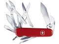 Wenger Swiss Army Tradesman Folding Knife 16 Function Swiss Surgical Steel Blades Polymer Scales Red