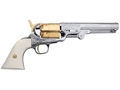 Pietta 1851 Navy Engraved Deluxe Black Powder Revolver Percussion Nickel and Gold Plated Barrel Ivory Grip