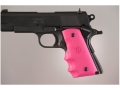 Hogue Wraparound Rubber Grips with Finger Grooves 1911 Officer Pink