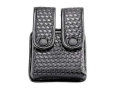 Uncle Mike's Divided Double Magazine Pouch Double Stack Magazines Snap Closure Molded Insert Mirage Nylon Laminate Basketweave Black