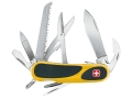 Wenger Swiss Army EvoGrip S 18 Folding Knife 15 Function Swiss Surgical Steel Blades Polymer Scales Yellow