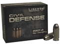 Liberty Civil Defense Ammunition 45 ACP +P 78 Grain Fragmenting Hollow Point Lead-Free Box of 20