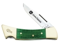 "Case 5947 John Deere Hammerhead Folding Knife 3.58"" Clip Point Stainless Steel Blade Genuine Bone Handle Green with Leather Sheath"
