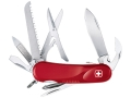 Wenger Swiss Army Evolution S 18 Folding Knife 15 Function Swiss Surgical Steel Blades Polymer Scales Red