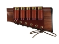 Galco Shotgun Cheek Rest Left Hand with 12 Gauge Shotshell Ammunition Carrier 5-Round Leather Brown