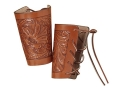 Hunter 1085 Cowboy Wrist Cuffs Tooled Leather Brown Pair