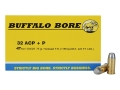 Product detail of Buffalo Bore Ammunition 32 ACP +P 75 Grain Hardcast Flat Nose Box of 20