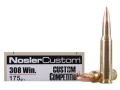 Nosler Match Grade Ammunition 308 Winchester 175 Grain Custom Competition Box of 20