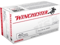 Winchester USA Ammunition 40 S&W 165 Grain Full Metal Jacket Flat Nose Box of 100