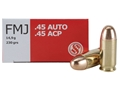 Sellier & Bellot Ammunition 45 ACP 230 Grain Full Metal Jacket
