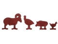 Ray Schafer Rimfire Metallic Silhouette Knock Down Target Set Cast Iron Set of 20 (5 of Each: Chicken, Pig, Turkey and Ram)