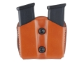 DeSantis Double Magazine Pouch 45 ACP, 10mm Single Stack Magazines Leather Tan