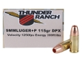Cor-Bon Thunder Ranch DPX Defensive Ammunition 9mm Luger +P 115 Grain Barnes TAC-XP Hollow Point Lead-Free Box of 20