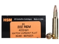 HSM Varmint Gold Ammunition 222 Remington 40 Grain Berger Varmint Hollow Point Flat Base Box of 20