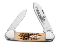 Case 263 Amber Canoe Folding Pocket Knife 2 Blade Pen and Spear Point Chrome Vanadium Blades Amber Bone Handle Brown