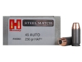 Product detail of Hornady Steel Match Ammunition 45 ACP 230 Grain Jacketed Hollow Point HAP Steel Case Box of 50