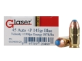 Glaser Blue Safety Slug Ammunition 45 ACP +P 145 Grain Safety Slug