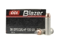 Product detail of CCI Blazer Ammunition 38 Special +P 125 Grain Jacketed Hollow Point Box of 50