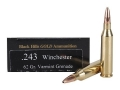 Product detail of Black Hills Gold Ammunition 243 Winchester 62 Grain Barnes Varmint Grenade Hollow Point Flat Base Lead-Free Box of 20