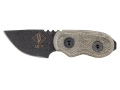 "Ontario Little Bird Glassbreaker Fixed Blade Knife 1-3/4"" Drop Point 1095 Black Steel Blade Micarta Handle Green"