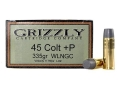 Grizzly Ammunition 45 Colt (Long Colt) +P 335 Grain Cast Performance Lead Wide Flat Nose Gas Check Box of 20