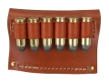 Hunter Cartridge Belt Slide Pistol Ammunition Carrier 45 Caliber 6-Round Leather Brown