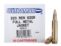 Ultramax Remanufactured Ammunition 223 Remington 62 Grain Full Metal Jacket Box of 50