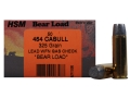 HSM Bear Ammunition 454 Casull 325 Grain Lead Wide Flat Nose Gas Check Box of 50