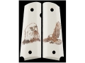 Hogue Grips 1911 Government, Commander Ivory Polymer Eagle with Talons Pattern