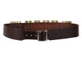"Hunter Cartridge Belt Combo 2-1/2"" 45 Caliber 10 Loops and 12 Gauge 8 Loops Leather Antique Brown XL"