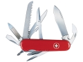 Wenger Swiss Army Handyman Folding Knife 15 Function Swiss Surgical Steel Blades Polymer Scales Red