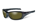 Wiley X WX Gravity Polarized Sunglasses Black Crystal Frame Yellow Lens