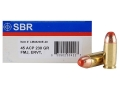 SBR LaserMatch Tracer Ammunition 45 ACP 230 Grain Full Metal Jacket ERVT Box of 20