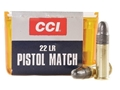 CCI Pistol Match Ammunition 22 Long Rifle 40 Grain Lead Round Nose Box of 500 (10 Boxes of 50)
