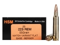 HSM Varmint Gold Ammunition 223 Remington 55 Grain Berger Varmint Hollow Point Flat Base Box of 20