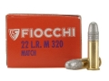 Product detail of Fiocchi Match Training Ammunition 22 Long Rifle 40 Grain Lead Round Nose Box of 50